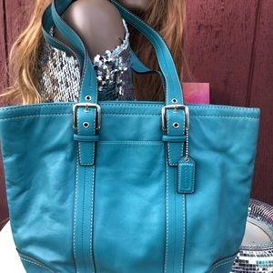 F11201 Coach Hamptons tote bucket bag blue